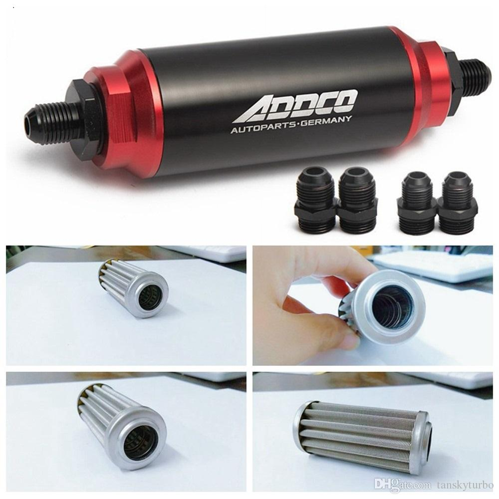 Universal Car Racing In-Line Fuel Oil Filter With AN10 AN8 AN6 Fittings Adapter Black&Red 40 Micron ADF09901