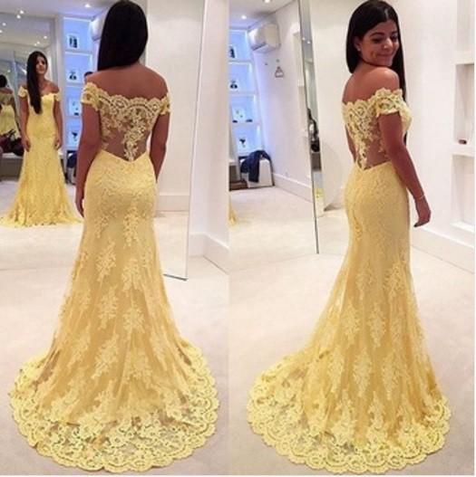 인어 댄스 파티 드레스 2020 노란색 오프 어깨 민소매 트럼펫 아플리케 레이스 얇은 명주 그물 vestido formatura 이브닝 드레스