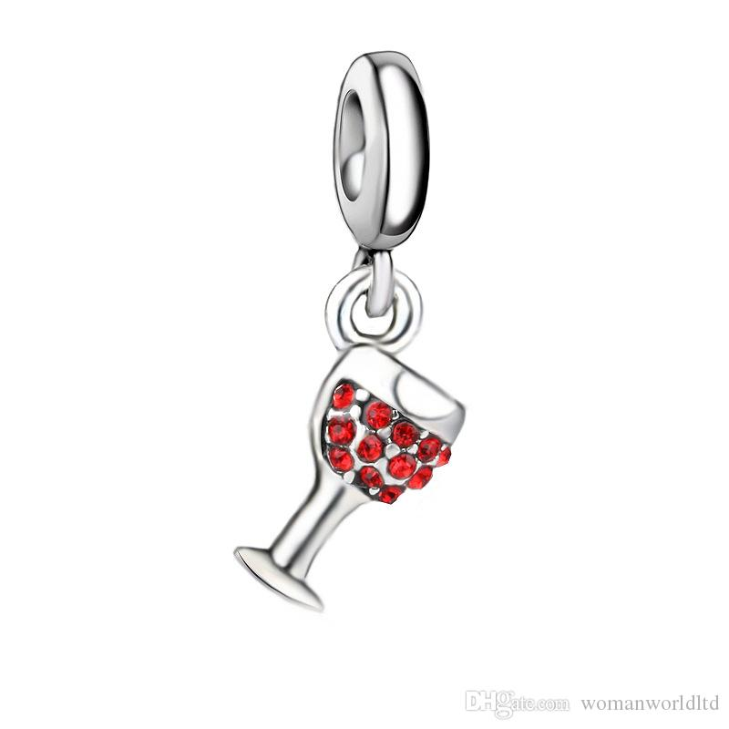 Fashion accessories Silver plated Wine Glass Pendant Big Hole Loose Beads Pandora DIY Jewelry Bracelet European Beaded Bracelet Necklace