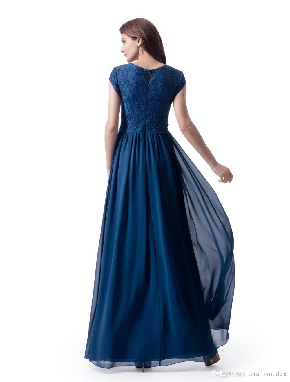 Vestidos largos sencillos de dama de honor modestos de país con mangas Encaje Top Falda de gasa Una línea Boho Vestido formal de novia Parte Vestido de dama de honor SUD