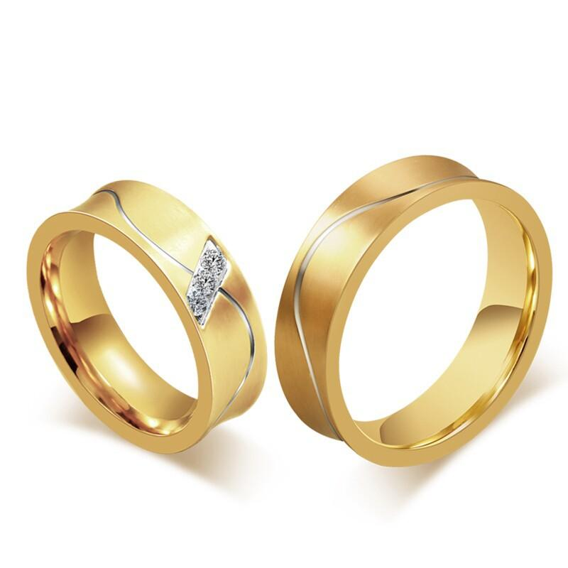 Fashion 18k Gold Couple Rings For Men Women Smooth Design Engagement