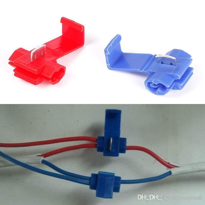 new blue red quick splice wire connector solderless scotch lock rh dhgate com Wire Nut Connectors Wire Nut Connectors