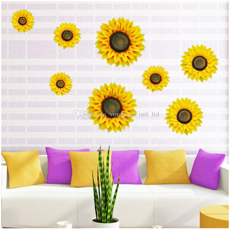 3d sunflower wall stickers home decoration stickers sun flower