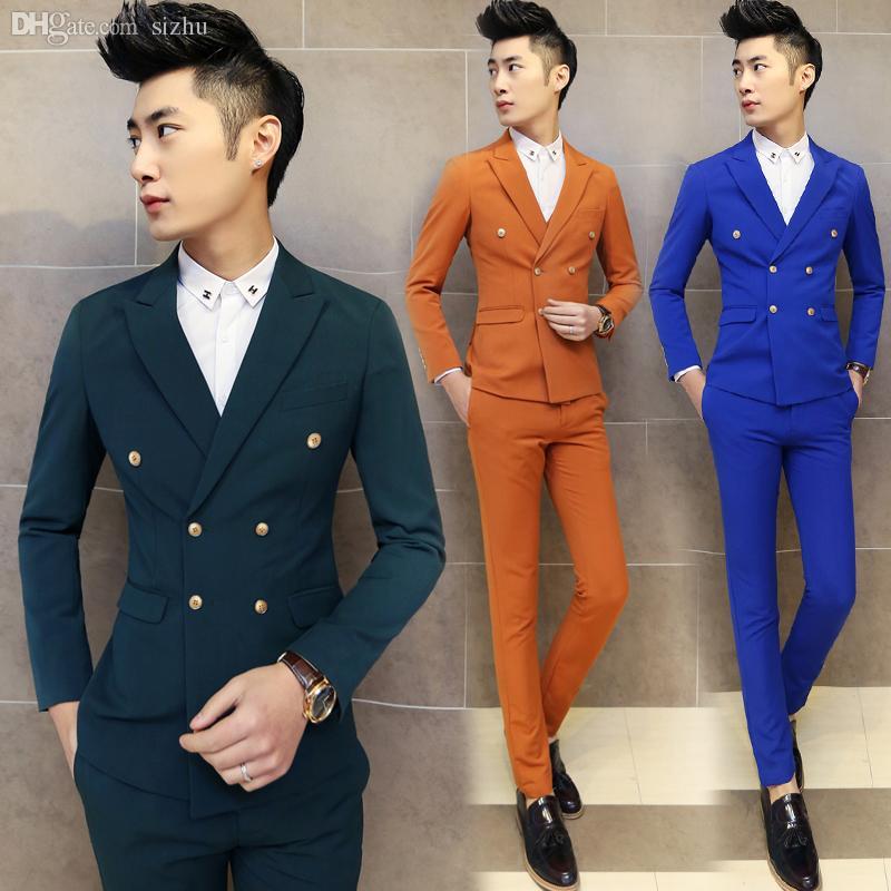 Wholesale-Mens Double Brested Suit 2015 Latest Coat Pant Designs ...