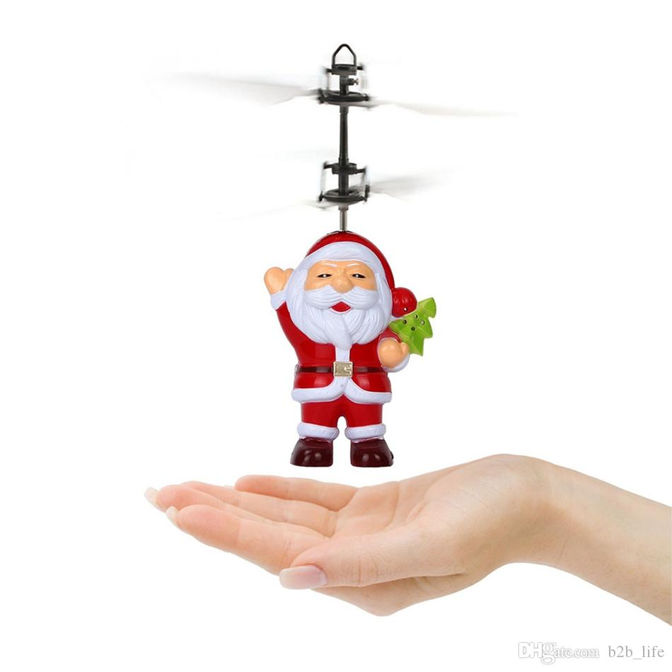 Père Noël Capteur Infrarouge Électrique Flying Ball Père Noël Inductif Avion Hélicoptère Volant Jouets Cadeau De Noël OOA3488