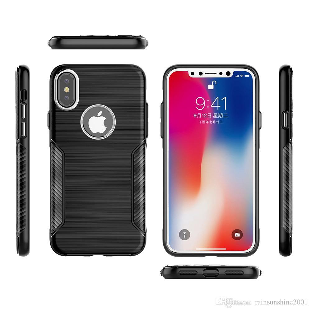 Custodia antiurto iPhone X Cerchi in metallo foro fotocamera Pulsante logo volume foro metallizzato Cover posteriore in TPU