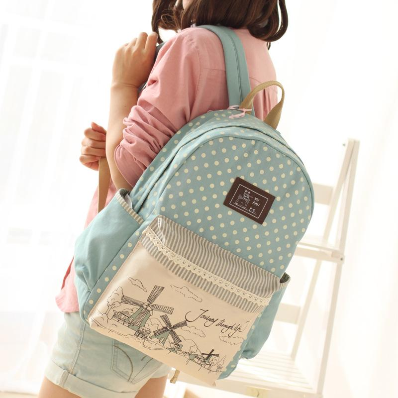 Girls Middle School Backpack Canvas Shoulder Bag Schoolbag Female ...
