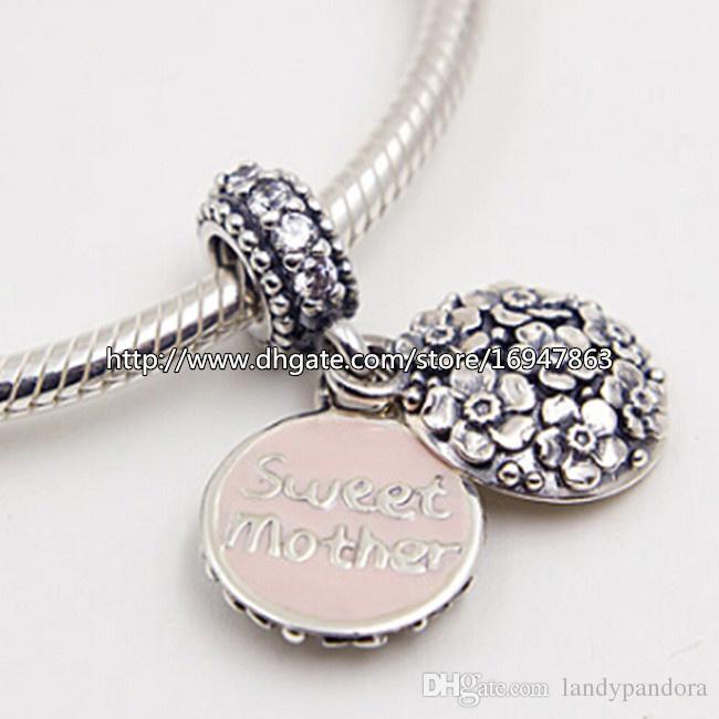 S925 стерлингового серебра розовый эмаль сладкий мать мотаться очарование шарик с ясно Cz подходит Европейский Pandora ювелирные изделия браслеты ожерелья кулон