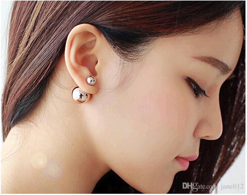 Hot frente e verso brincos duplo pérola frente brincos de orelha de volta moda jóias atacado redondo pinos de forma arredondada 18 cores misturadas Oder