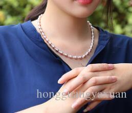 Perle d'eau douce en poudre collier de perles de riz violet et blanc tendance de la mode chaîne en or féminin à envoyer petite amie