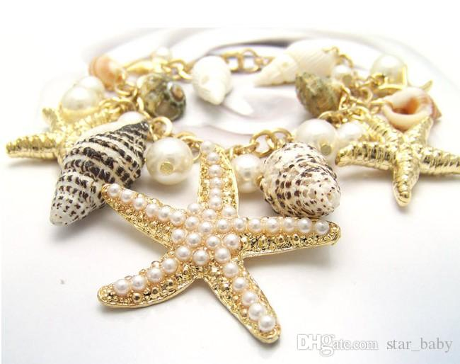 Hot! Pearl Starfish Shell Metal Bracelet Women's Fashion Ladies Golden Valentine's Day Gift Girls Jewelry Accessories Sunbeach Jewelry M3162