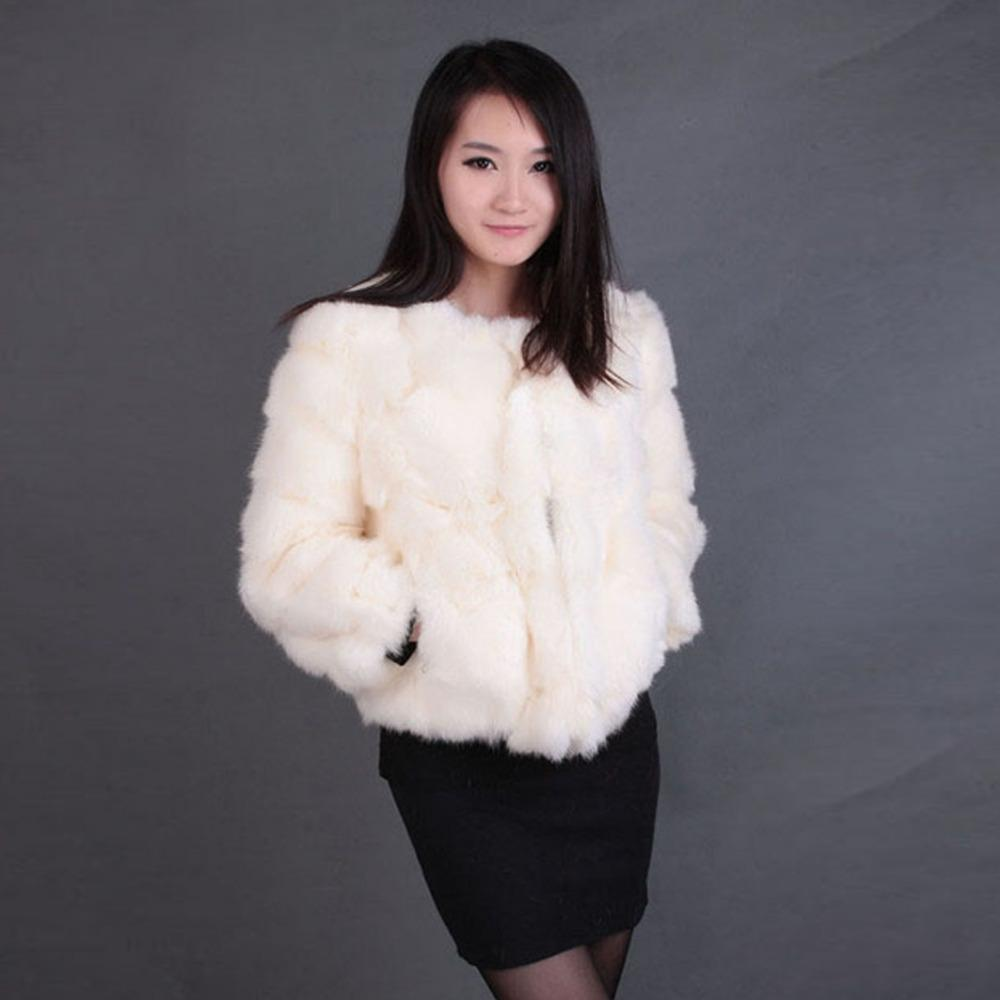 Real Rabbit Fur Coat Short Overcoat Jacket Womens' Top Winter ...
