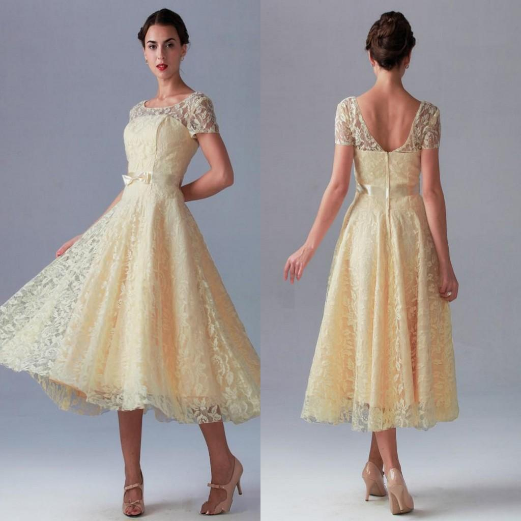 Hot light yellow tea length party dresses charming short sleeve hot light yellow tea length party dresses charming short sleeve bow sash open back bridesmaid dress high quality fast delivery 2015 funky party dresses ombrellifo Image collections