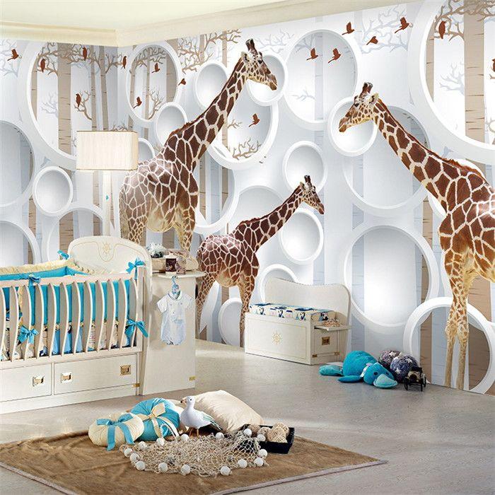 wand kinderzimmer, großhandel einzigartige 3d ansicht giraffe fototapete niedlichen, Design ideen