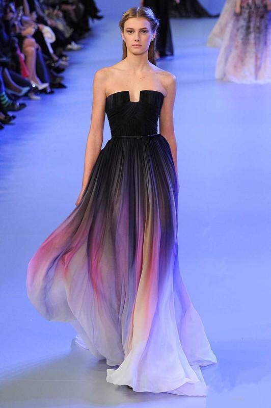 Designer Elie Saab Vestidos de baile Gradiente de cor Maxi Vestido de festa de formatura Strapless Chiffon vestidos de festa à noite