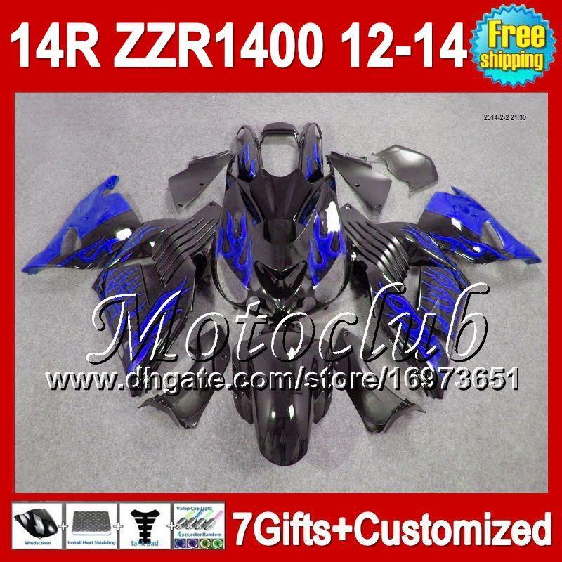 7gifts For KAWASAKI NINJA ZZR1400 Blue flames 12-13 2C5115 ZZR-1400 12 13 12 13 ZX14R Blue black 2012 2013 2012 2013 ZZR 1400 Fairing