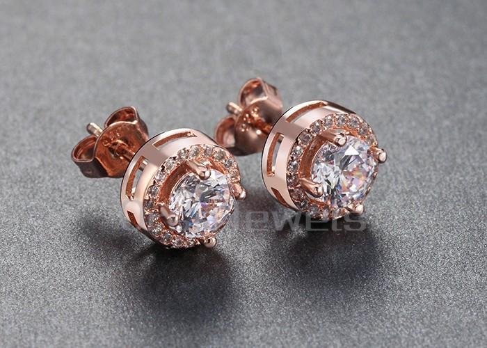 ORSA oro rosa Orecchino con 0,75 ct giallo CZ Diamante Classica 4 Artiglio orecchini le donne i disponibili OE104-R