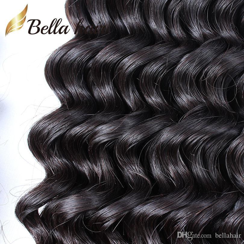 未処理のバージンの人間の髪の束ブラジルのペルーのマレーシアのインドのモンゴルの深い波の髪の伸びの緯糸自然な色安い髪