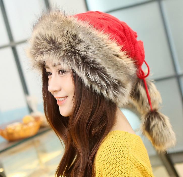 New Women's Beanies Cap Faux Fur Knitted Wool Hat Thick Mongolia Caps Winter Warm Casual Hats Scarf Neckerchief Neck Warmer