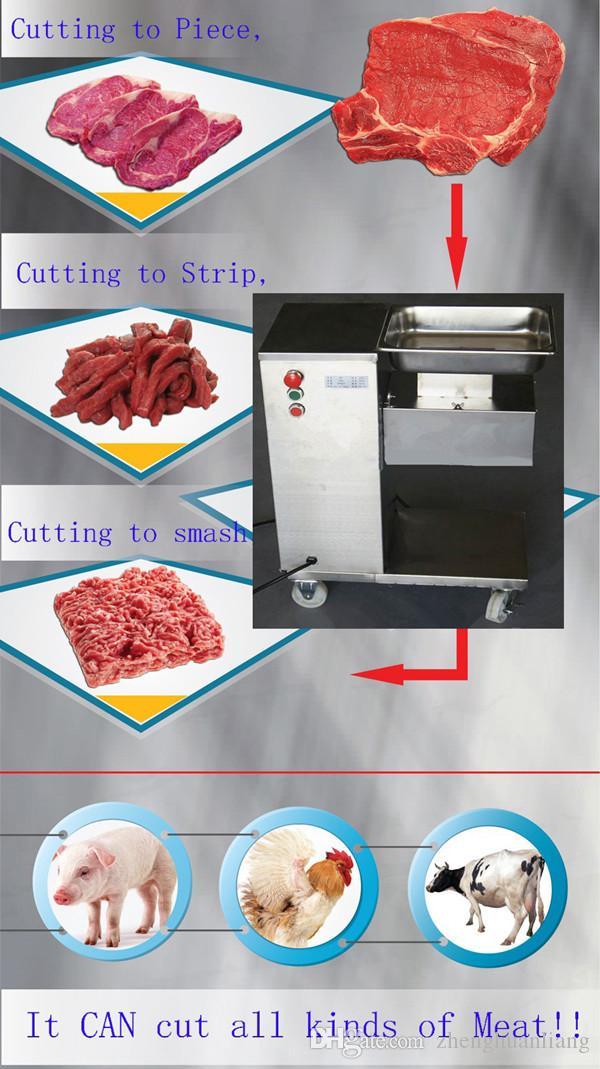 Großhandel - Freies Verschiffen 110V / 220V Vertikale Typ Fleisch Schneidemaschine Fleischschneider Slicer 500kg / HR Fleischverarbeitungsmaschine