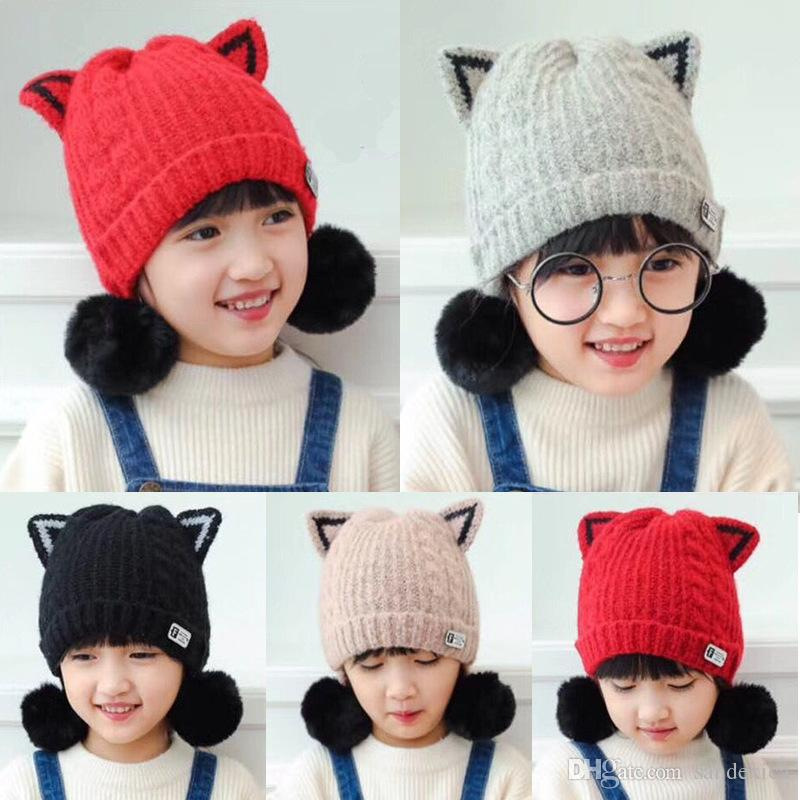 8231b231ec6 2019 Baby Boy Girl Hats Children S Hooded Knit Hat Autumn And Winter  Children S Warm Plus Velvet Cap Baby Cat Ears Double Ball Hat From  Sandexica
