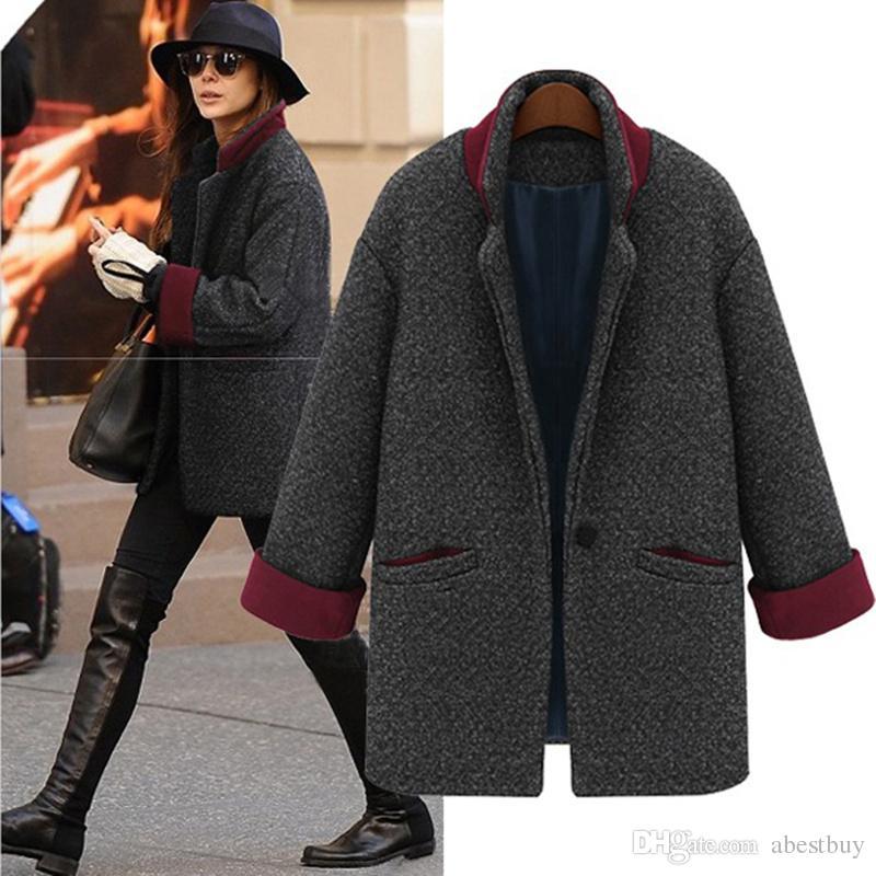 2017 New Fashion Winter Women Wool Blends Thick Coat Boyfriend ...