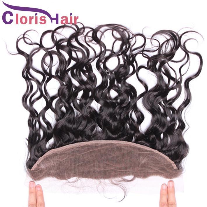 Предварительно щипковых Kinky завитые Швейцарский шнурок Фронтальная Закрытие уха до уха 13x4 Raw Virgin Indian Curly человеческих волос Полный Frontals Закрытие Natural Hairline