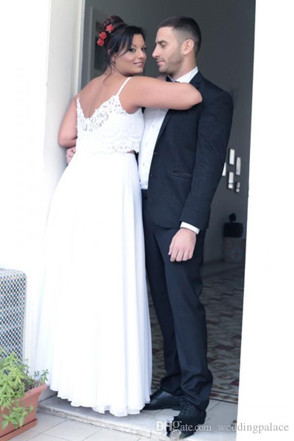 Simple Two Pieces Plus Size Robes de mariage de plage 2018 Plus Size Lace Top en mousseline de soie jupe longueur de plancher glissière au dos de mariée mariage Robes