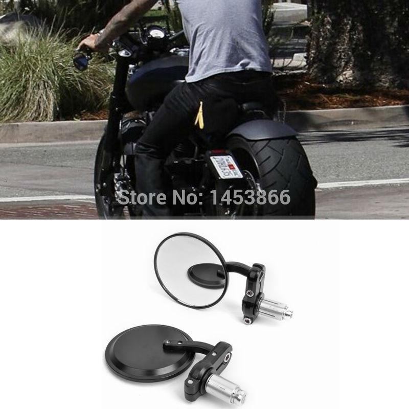 motorcycle black 3 round 7/8 handle bar end mirrors cafe racer