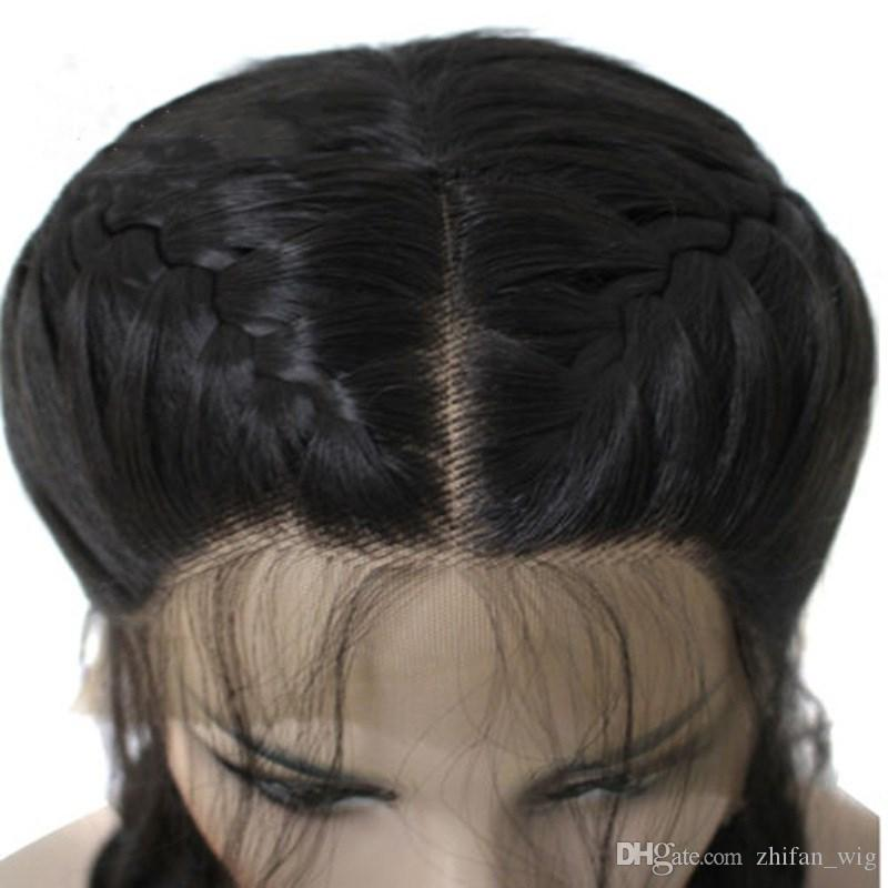 Z&F Human Lace Front Wig 26 inch Black Braid Wig 360G Braided Wigs Curly Double Ponytail Synthetic Lace Front Wigs Afro