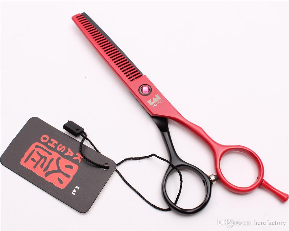 "H1013 5.5"" Japan Steel Kasho Red Professional Human Hair Scissors Barbers' Hairdressing Scissors Cutting Thinning Shears Salon Style Tools"
