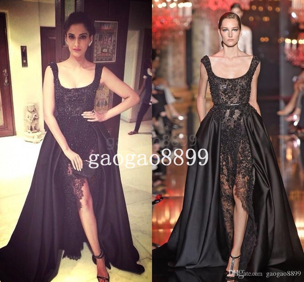 2019 Elie Saab Sonam Kapoor Ocasión Vestidos de baile Hot Sexy Perlas de encaje negro Cristal sobre faldas Vestidos de noche divididos Dubai Arabia Árabe