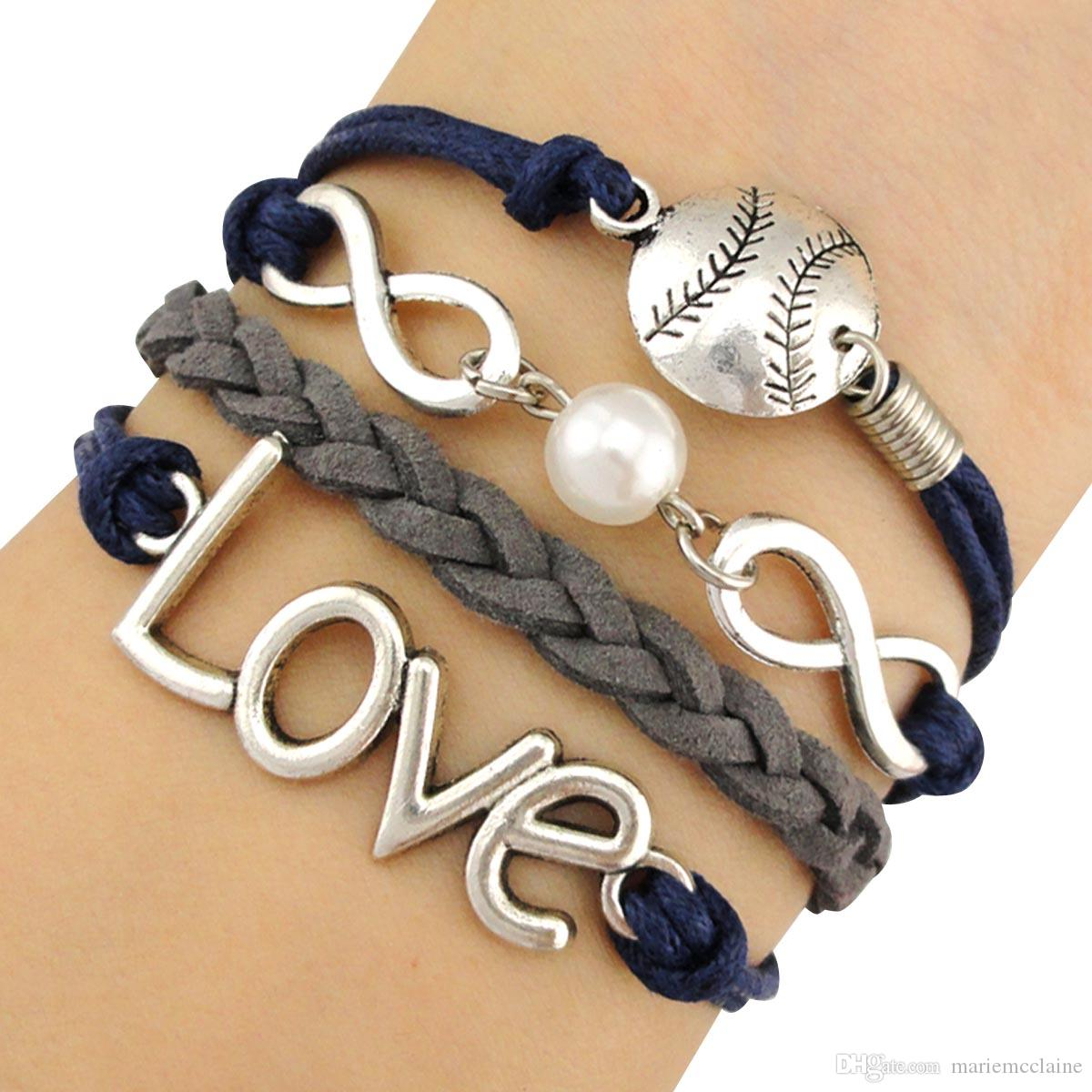 Baseball Charm Bracelet: Infinity Wish Love Baseball Softball Sports Pendant Ball