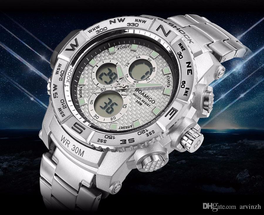 86ea000d58f Compre 2018 Novos Homens Da Moda Relógios De Aço De Prata Marca Cronógrafo  Homem Militar Led Analógico Digital Relógio De Quartzo Masculino Relógio  Relogio ...