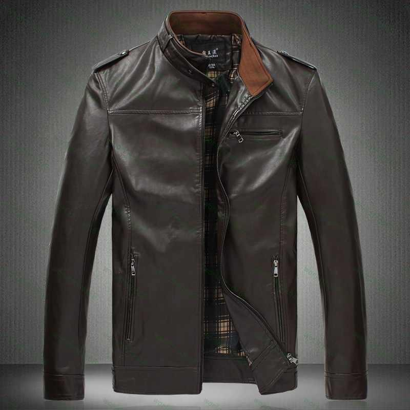 Discount Xxxl 4xl 5xl 6xl 7xl 2015 New Mens Leather Jacket Solid ...