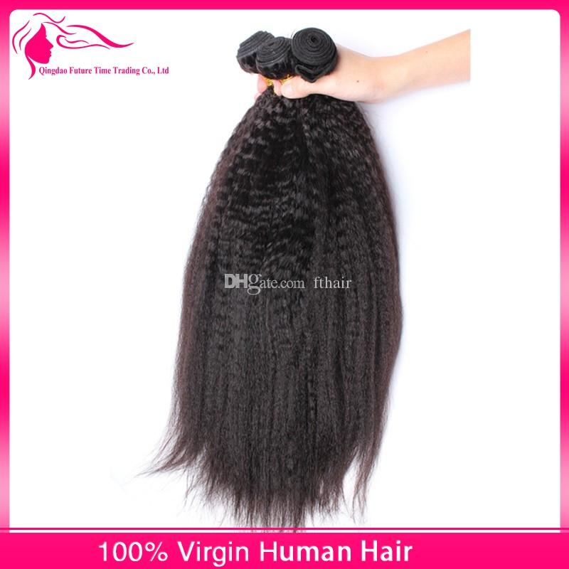 Peruvian Kinky Straight Virgin Hair With Closure Free Middle 3 Part Lace Closure with 3Bundles Italian Coarse Yaki Remy Human Hair Weaves