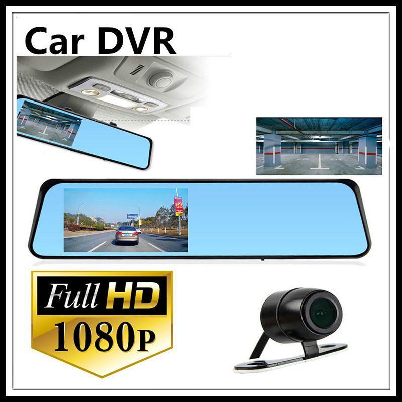 "2016 New 4.3"" LCD V180 Bule Screen Dual Lens Car Camera Rearview Mirror Video Recorder HD1080P Car DVR Blackbox G-Senser 010227"