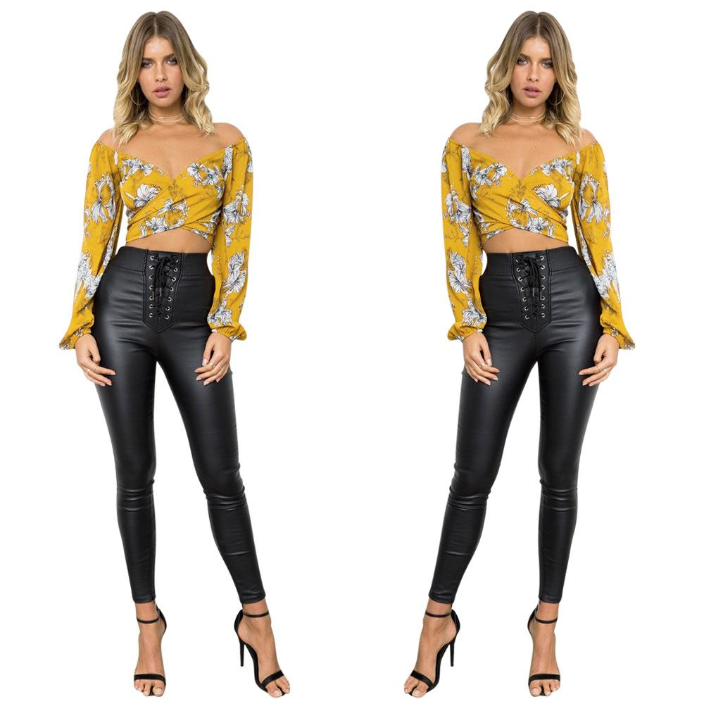 b63f10fc73644 2019 Women Sexy Chiffon Yellow Floral V Neck Long Puff Sleeve Beach Club  Party Bandage Crop Top From Hengytrade