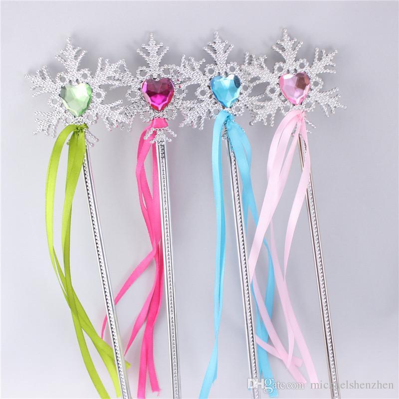 Free EMS Girls Frozen Fever snowflake Magic Wand 2015 new children Cinderella princess elsa anna gem Coloured ribbon Magic Wand B001