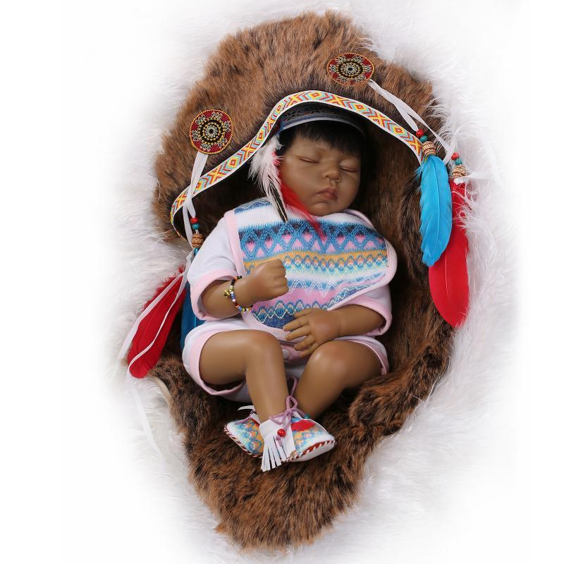 Native American Indian Reborn Baby Doll Vinyl Silicone