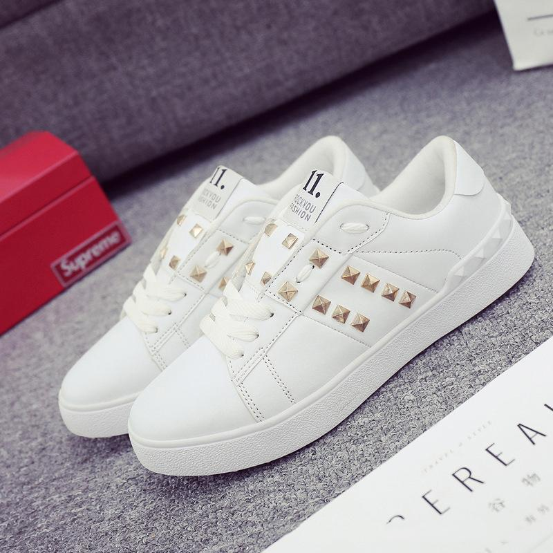 34a7df68f9 Classic Trendy Fashion Casual Men And Women Small White Shoes Couple Rivets  Board Shoes Rubber Soles Luxury Designer Walking Shoes Wedges Shoes Black  Shoes ...