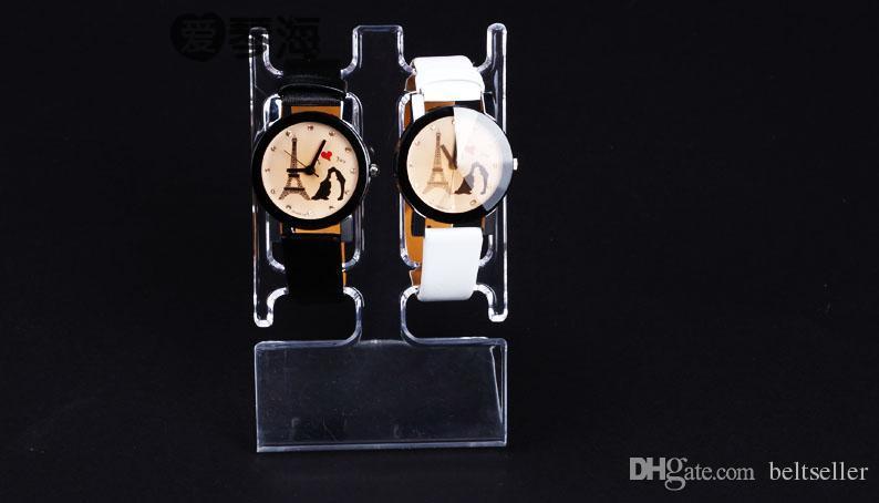Espositore trasparente del supporto dell'esposizione dei gioielli del braccialetto dell'orologio della cremagliera del supporto dell'orologio del supporto dell'esposizione di plastica dell'orologio a forma di L libero Showcase trasporto libero