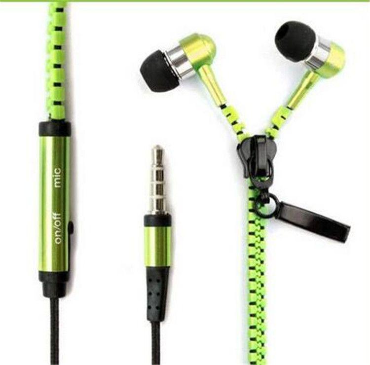Новая горячая молния в ухе 3,5 мм наушники с микрофоном с микрофоном металлические бутоны на молнии наушники для MP3 iPhone Samsung HTC и розничная коробка
