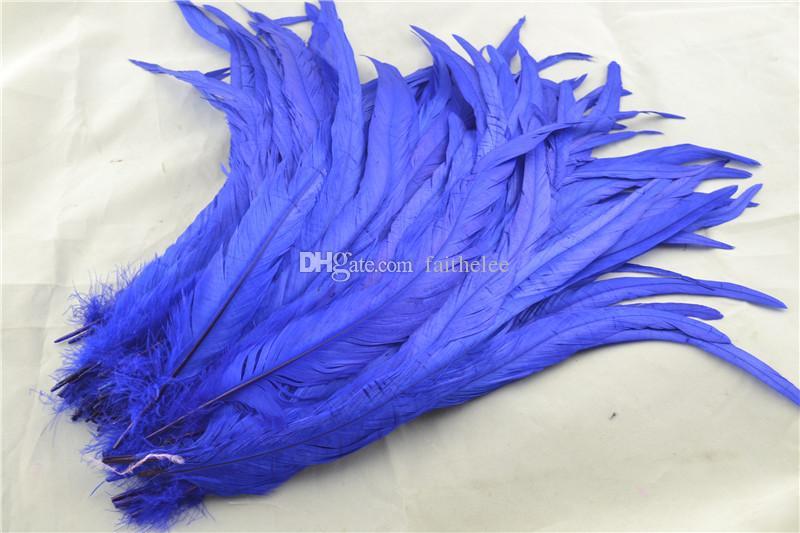 Ücretsiz kargo 100 adet / grup için 12-14 inç kraliyet mavi MAVI horoz TAIL Tüy Gevşek Şapka Headdress