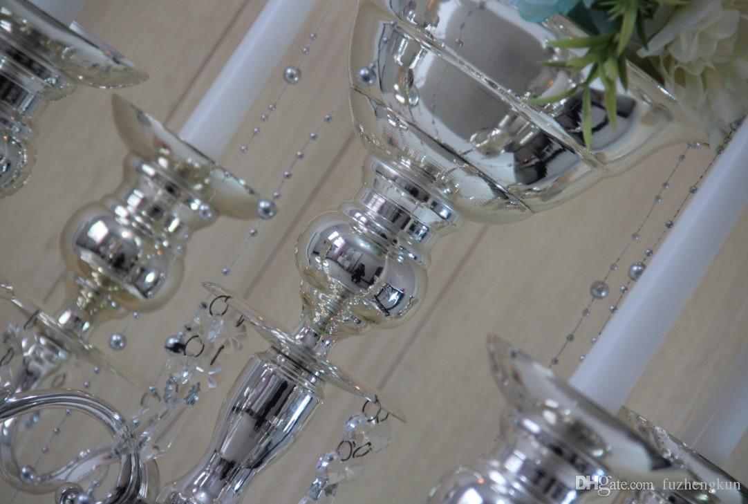H75CM * W48CM, 5 głowic Crystal Candelabra, Uchwyt na świecę, Ślubny Centralny, Kwiatowa Miska Świecznik Uchwyt z zawieszkami