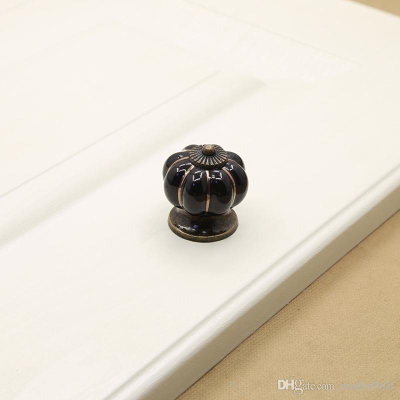Antique Bronze sculpture petite taille poignée de citrouille poignée Noir Blanc Bleu Vert unique tirer armoire cuisine tiroir bouton meubles matériel # 514