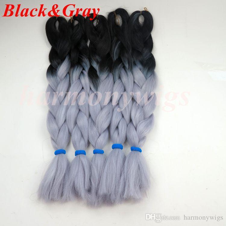 Kanekalon Sentetik örgü saç 20 24 inç 100g Ombre iki ton renk jumbo örgü saç uzantıları 18 renk İsteğe