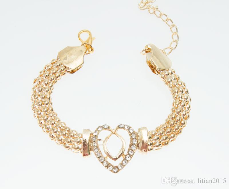 Livraison Gratuite Dubai 18K Plaqué Or Coeur Forme Collier Ensemble De Mode Cristal De Mariage De Mariée Costume Bijoux Ses