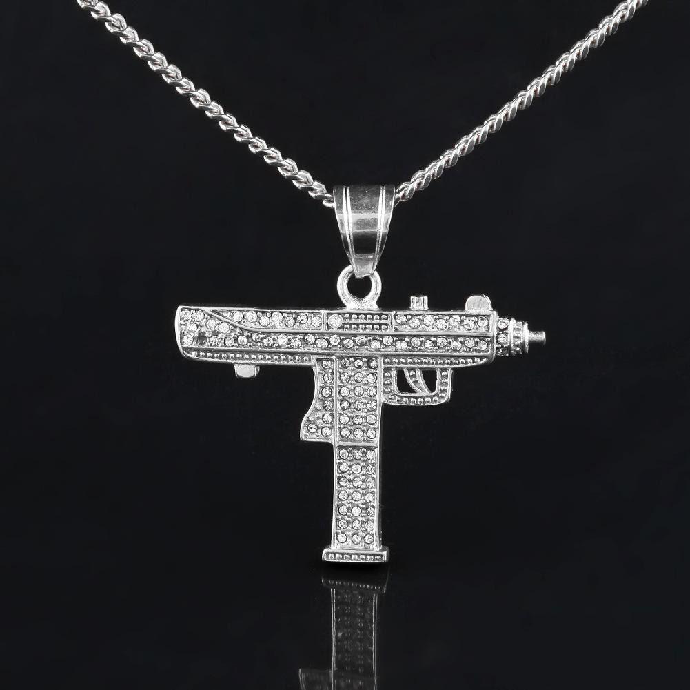 Хип-хоп пистолет кулон ожерелье 18K золото посеребренные оттаявшие Cz бриллианты Шарм кулон прекрасное качество кубинская цепь