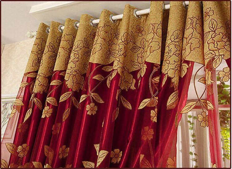 Chegada nova Cortinas de Luxo Frisado Para Sala de estar Tulle + Blackout Cortina Tratamento de Janela / cortina Em Brown / Vermelho